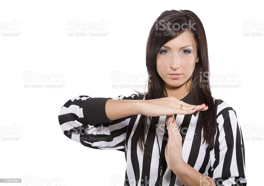 Female Referee Calling Timeout stock photo