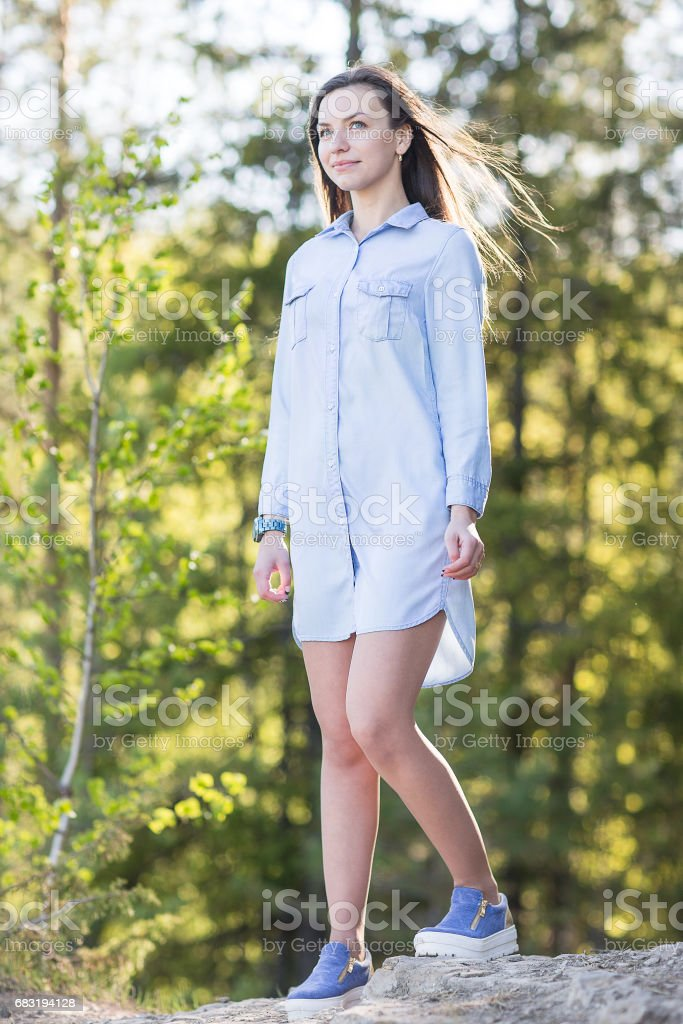 female relaxing in nature royalty-free 스톡 사진