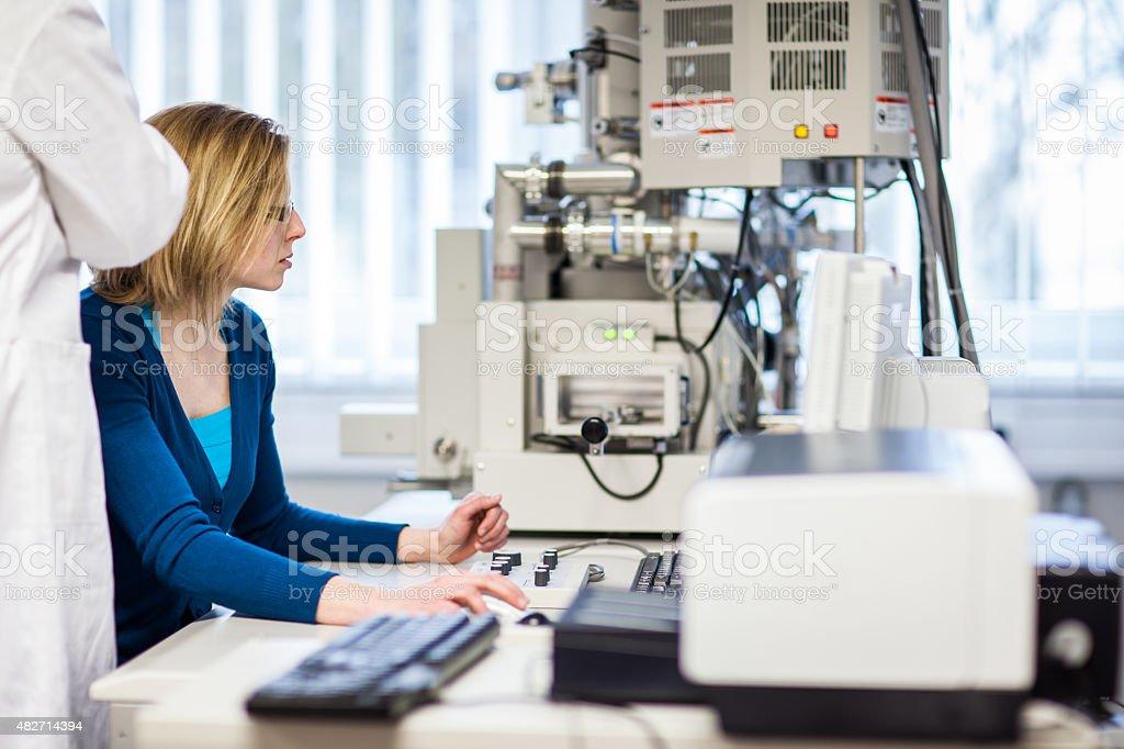 Female researcher in a laboratory stock photo