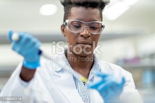 A black female chemist is working in a laboratory. She is using a pipette to transfer a liquid solution. The woman is wearing protective gloves and protective eyewear. She is concentrating on her task and has a serious expression on her face.