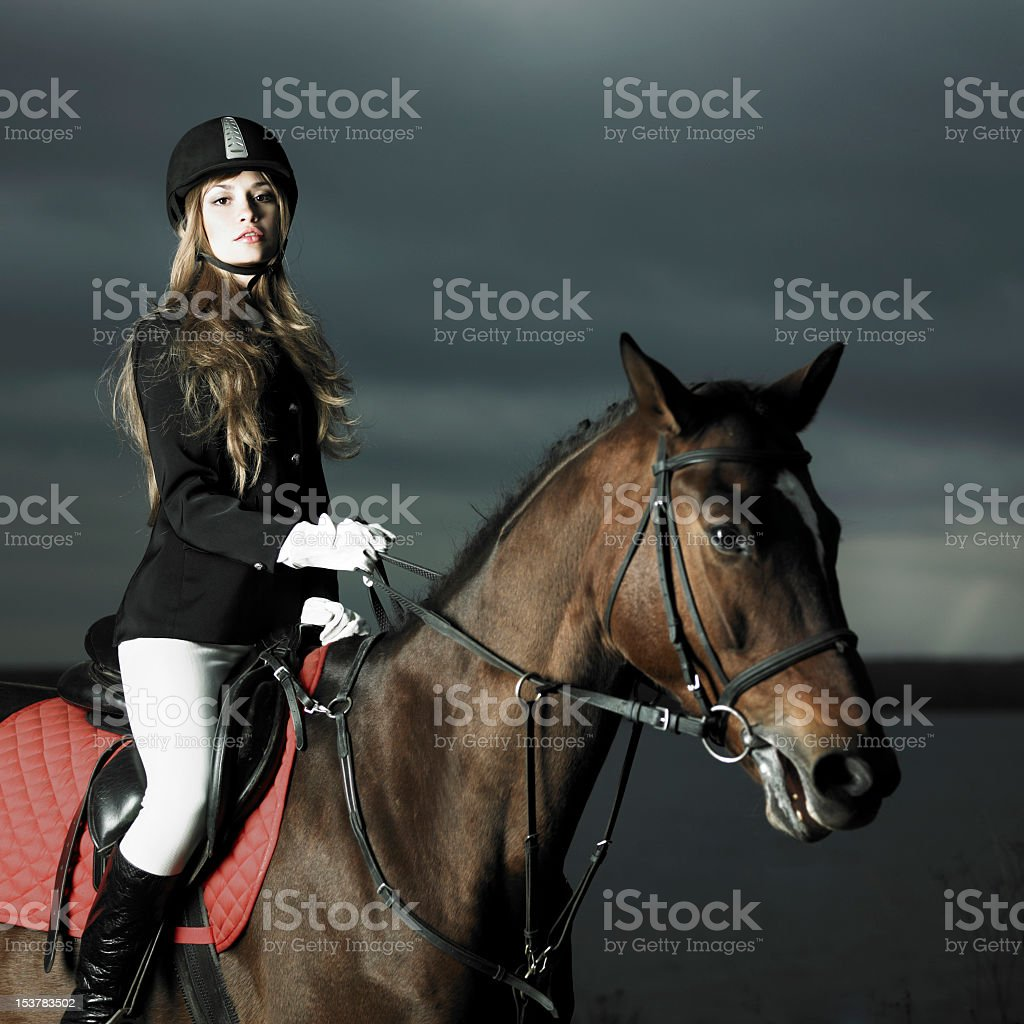 Female Rider In Full Gear On The Back Of A Brown Horse Stock Photo Download Image Now Istock