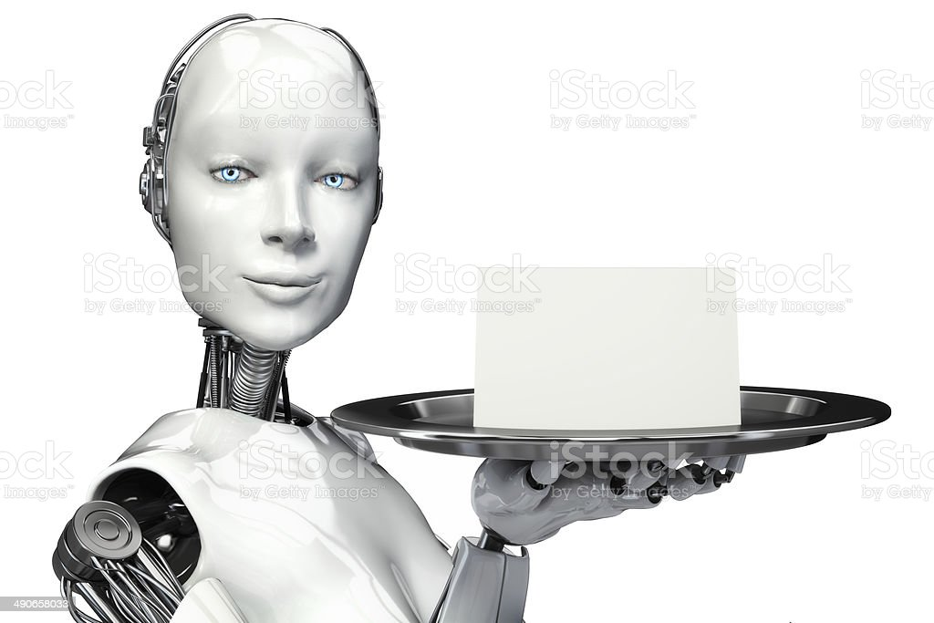 Female robot holding a serving tray with a blank card stock photo