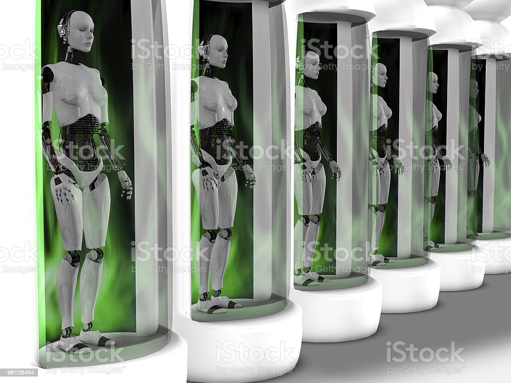Female robots standing in sleeping chambers. royalty-free stock photo