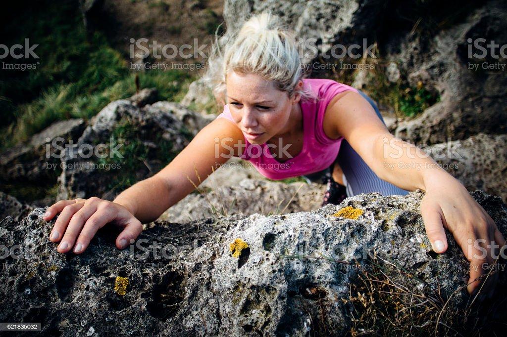 Female Rock Climber stock photo