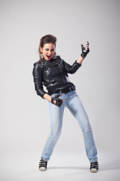 female rock singer perfoming - punk music stock photos and pictures