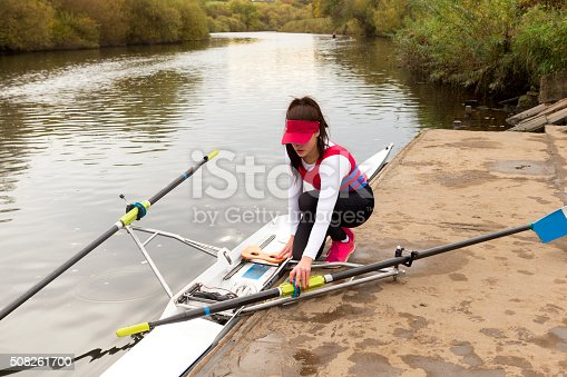 istock Female rower preparing to race 508261700