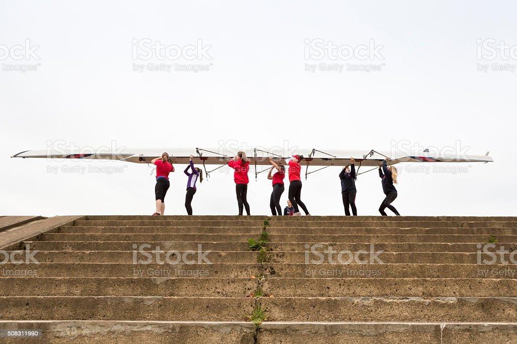 Female Rowing Team stock photo