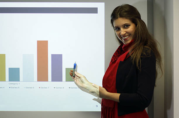 Powerpoint business presentation and presenter with graph A female Russian business presenter explains a graph / histogram on a projected Powerpoint presentation. whiteway stock pictures, royalty-free photos & images