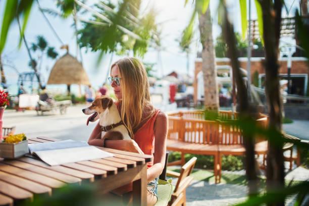 Russische Touristin sitzt im Thai-Café mit Tierhund – Foto