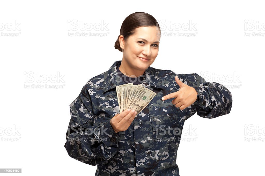 Female sailor showing money stock photo