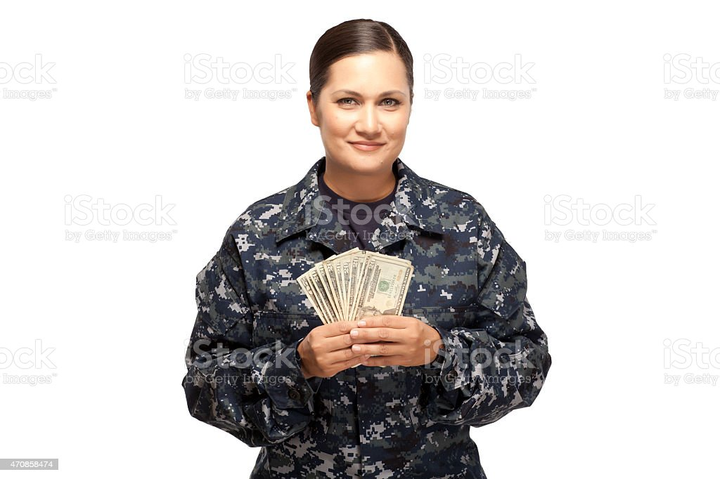 Female sailor with money stock photo