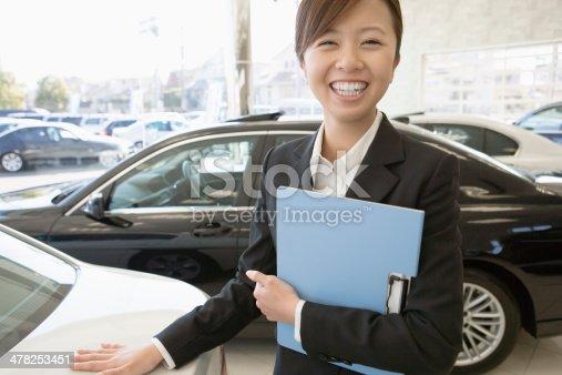 istock Female salesclerk of car dearlership 478253451