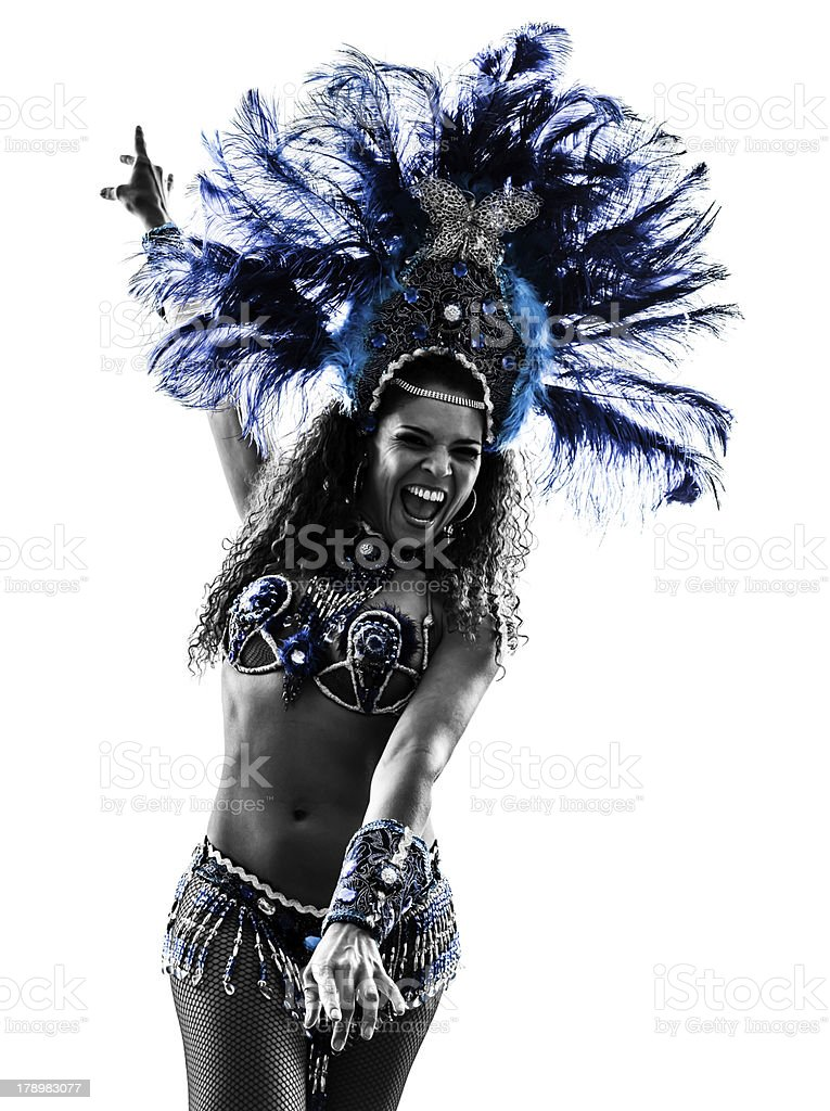 A female samba dancer in black and white with blue hues stock photo