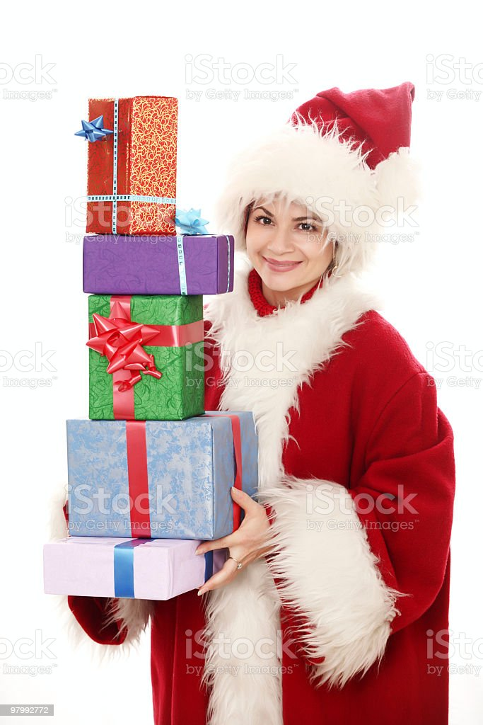 female santa claus holding presents royalty-free stock photo