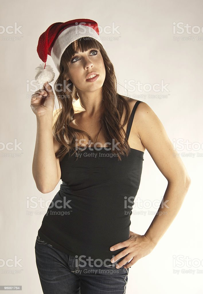 Female Santa Claus Thinking royalty-free stock photo