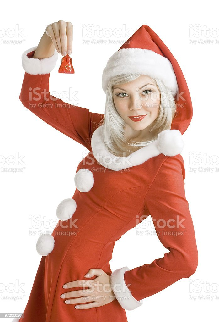 Female Santa Clause holding a hand bell royalty-free stock photo