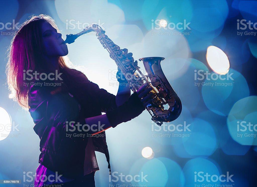 Female Saxophone Player stock photo