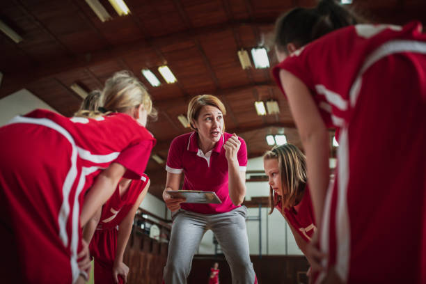 Female School Basketball Team Spiel – Foto