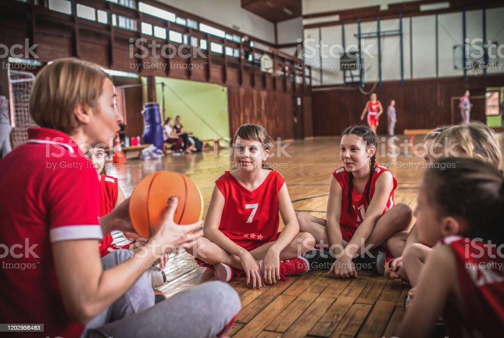 Female School Basketball Team Playing Game