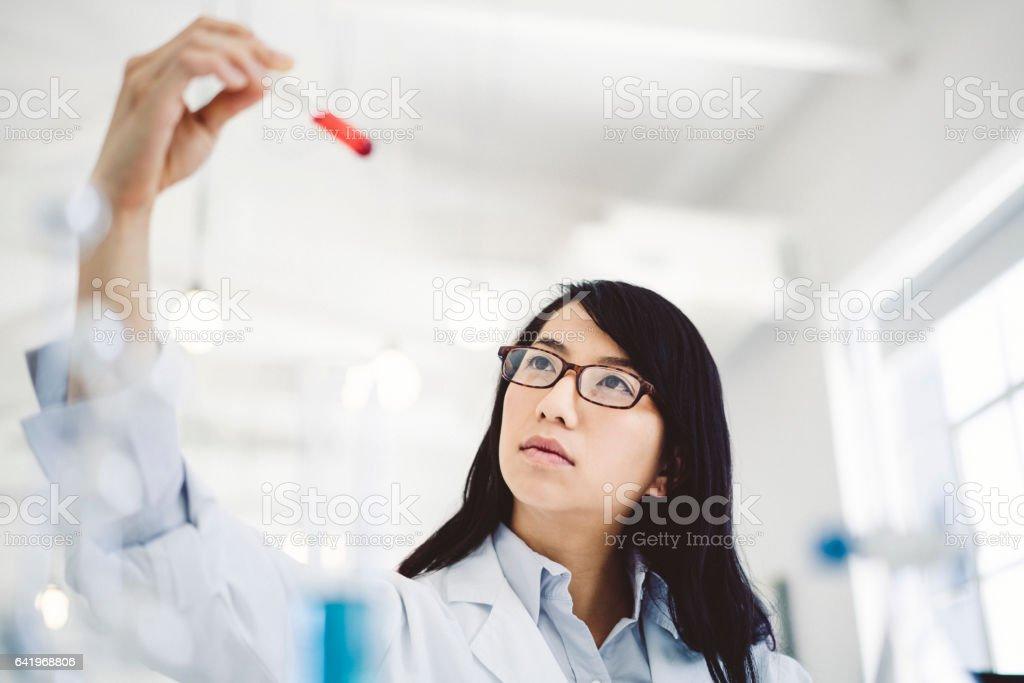 Female scientist examining sample in test tube stock photo