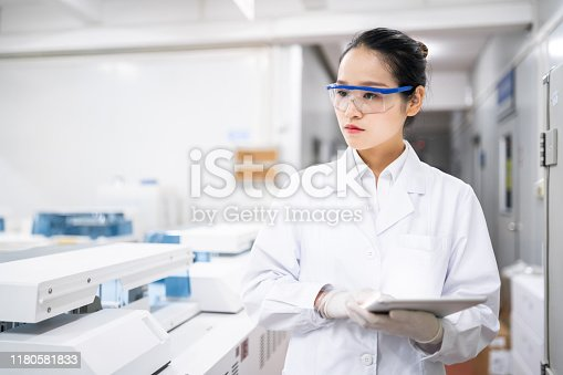 Female scientist in a medical laboratory.