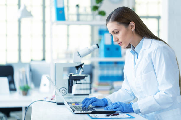Female scientist in laboratory stock photo
