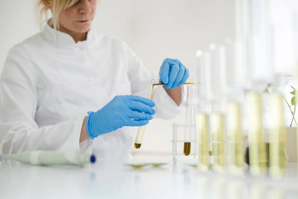 kvinnliga vetenskaps man i laboratoriet ester cbd olja utvinns ur en marijuana växt. hon använder ett flertal glasrör och skålar för experimentet. hälso-apotek från medicinsk cannabis. - carpel bildbanksfoton och bilder