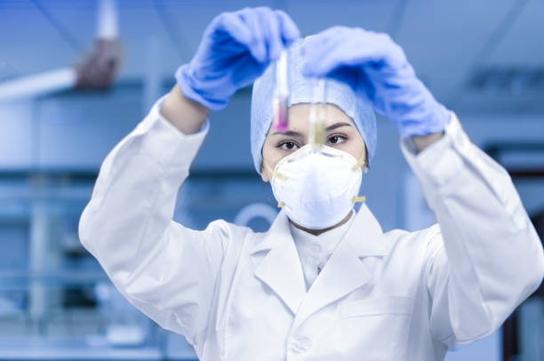 Female scientist looking at the scientific sample in the laboratory stock photo