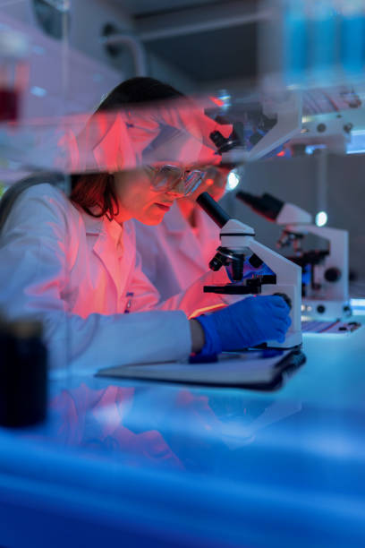 Female scientist making notes. Using microscope with medical samples. Working late stock photo
