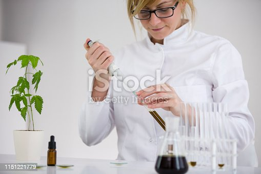 istock Female scientist with a glasses testing cbd oil extracted from a marijuana plant on a watch glass. She is using a precise dropper and a watch glass for the experiment. Healthcare pharmacy concept. 1151221779