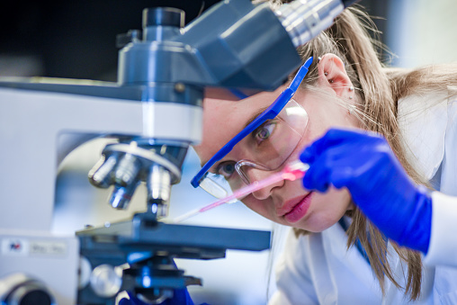 Female Scientist With Microscope And Pipette In Lab Stock Photo Adult Adults Only Analyzing Biology Biotechnology Stock Photo - Download Image Now