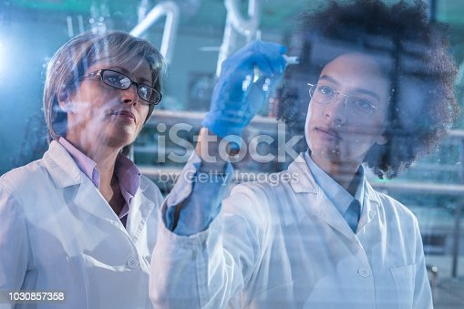 499203366 istock photo Female scientists cooperating while drawing a scientific plan on glass in laboratory. 1030857358