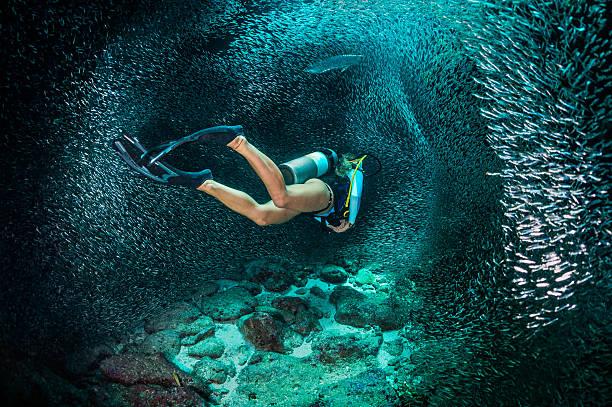 Femme plongée sous-marine - Photo