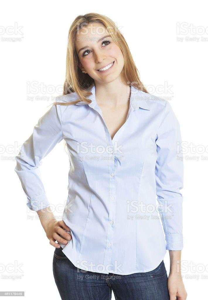 Female secretary with blond hair looking sideways stock photo