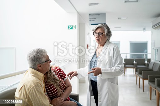 840514774istockphoto Female senior doctor talking about bad news and consoling sad family at hospital 1200988858