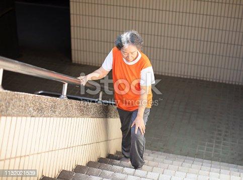 698466046 istock photo female senior Suffering from knee Pain  on stair 1132021539