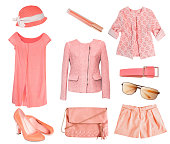 istock Female set collage salmon coral color isolated. 512291744