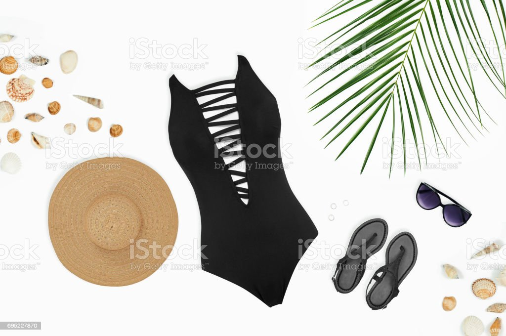 Female set of bright summer clothes for the beach stock photo