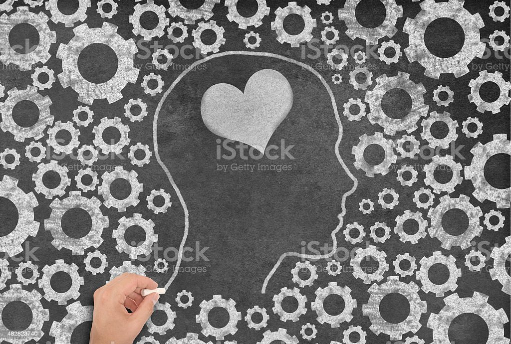 Female Shape thinking about love with Gear Background stock photo