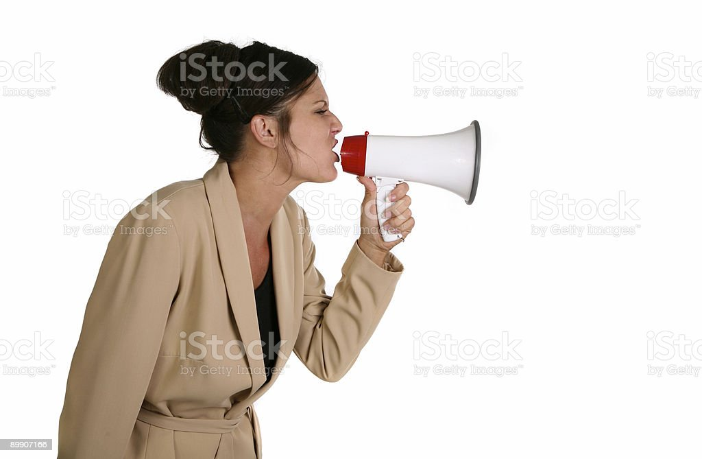 Female Shouting in a Megaphone royalty-free stock photo
