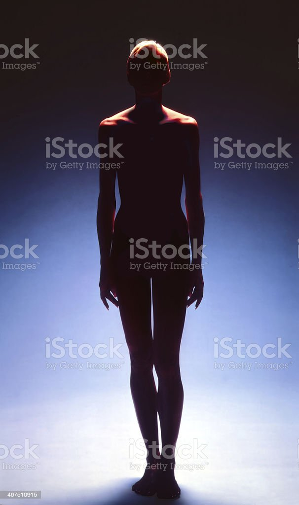 Female - Silhouette Against Blue Background stock photo