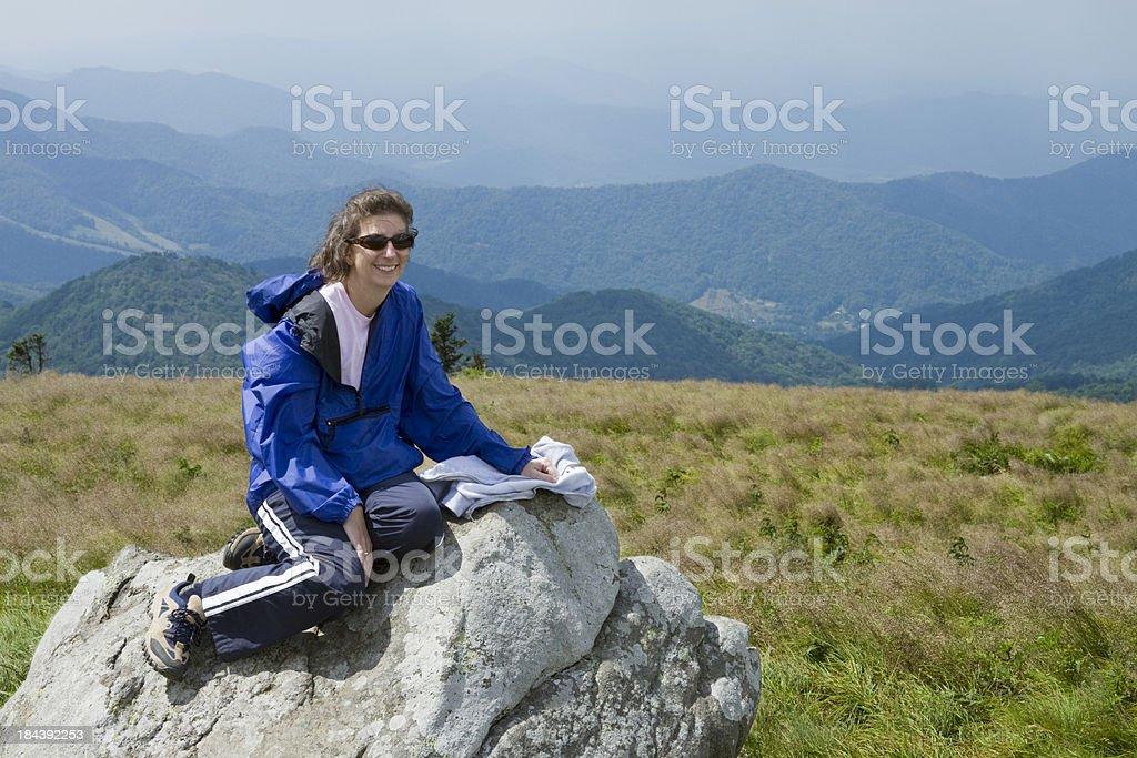 Female Sitting On Bolder During Hike,  Appalachian Trail royalty-free stock photo