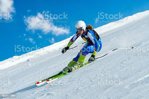 Photo of Female Skier at Straight Downhill Ski Race