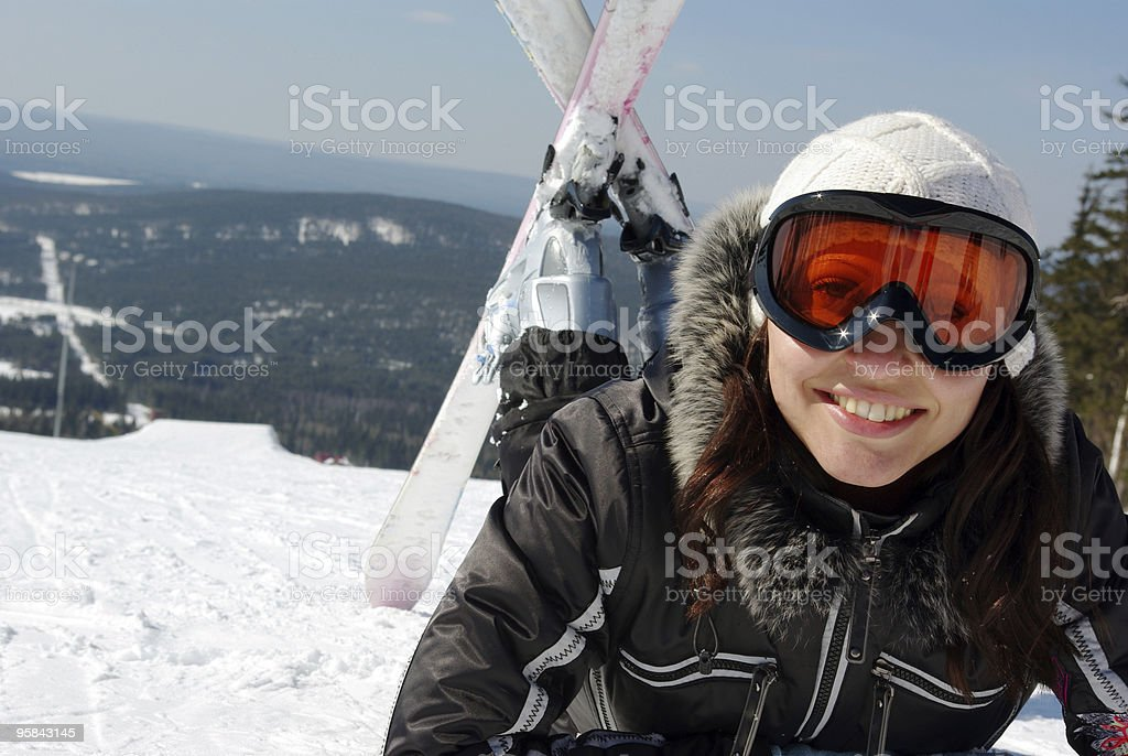 Female skier. royalty-free stock photo