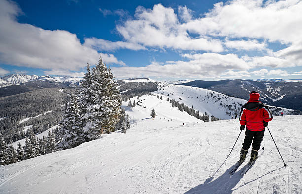 Female Skier Standing with Rocky Mountains in Background Coniferous forest covered by snow with skiing slopes in the foreground and Rocky Mountains in the background. This photograph was taken in Vail, Colorado. vail colorado stock pictures, royalty-free photos & images
