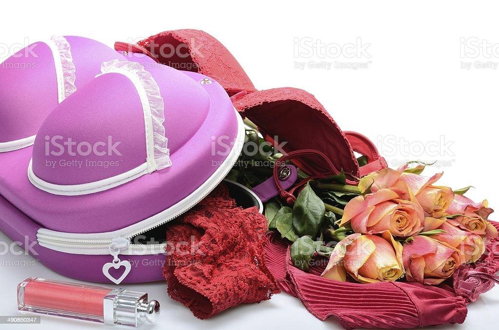 1 kleiner Koffer für Ihre Wäsche und Rosa Blumen – Foto