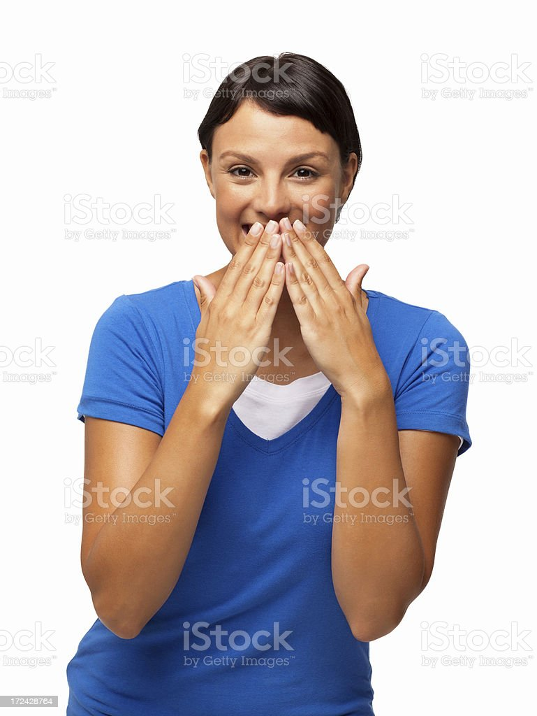 Female Smiling With Hands Over Mouth - Isolated royalty-free stock photo