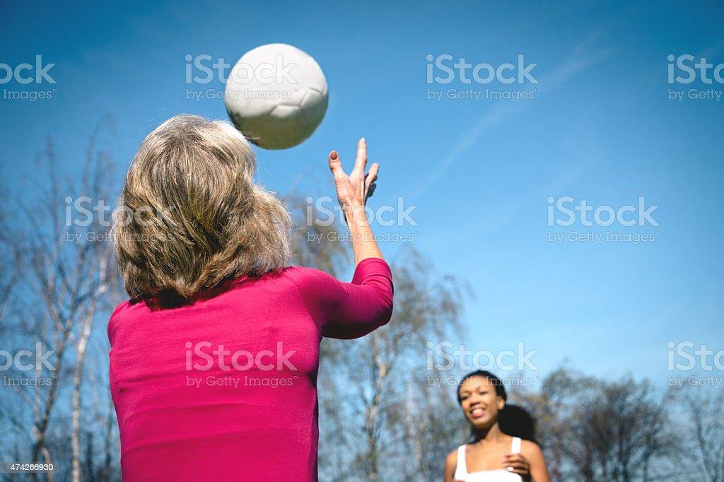 Female Soccer, Kicker And Goalie stock photo