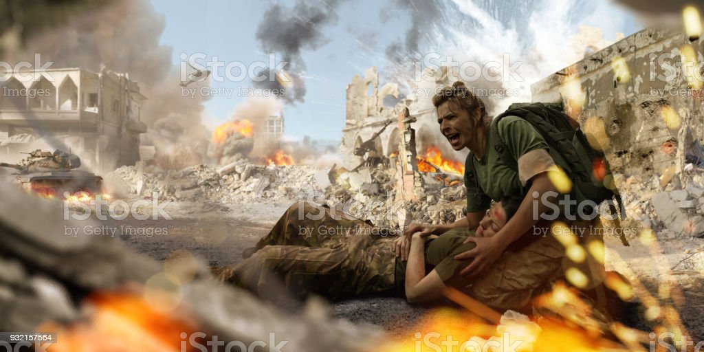 Female Soldier Medic Helping Injured Female Soldier In War Zone stock photo