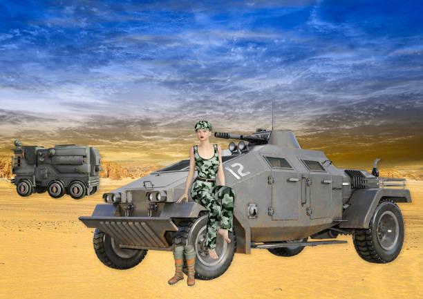 weiblichen soldaten sitzen auf militärfahrzeug - damen top gold stock-fotos und bilder